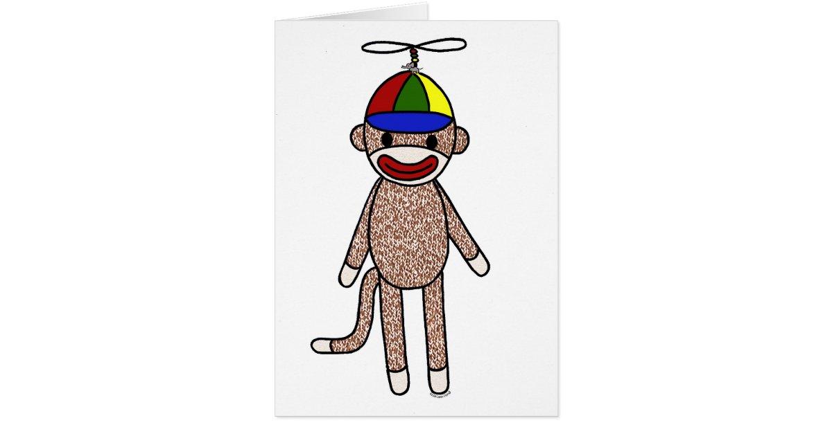 sock monkey propeller hat card zazzle