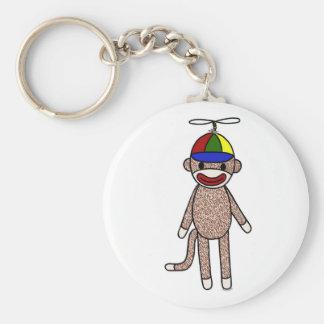 Sock Monkey Propeller Hat Keychain