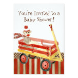 "Sock Monkey, Red Wagon, Boy Baby Shower Invitation 5"" X 7"" Invitation Card"