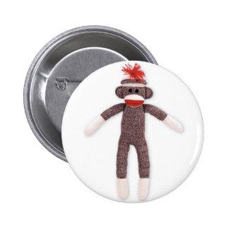 sock monkey retro pinback button