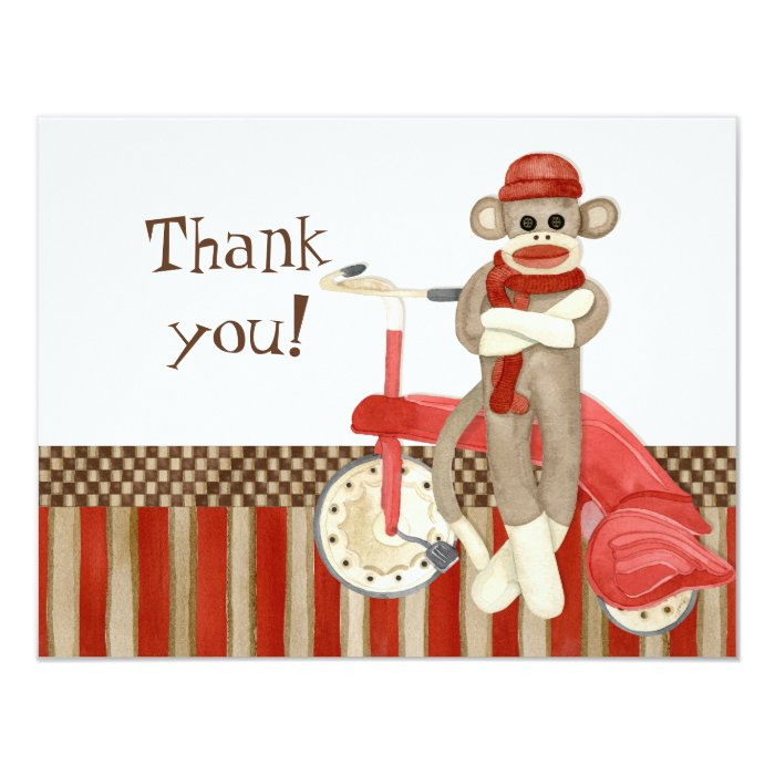 Sock Monkey Retro Tricycle, Thank You Note Cards