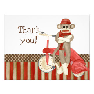 Sock Monkey Retro Tricycle Thank You Note Cards Custom Invitation