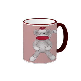 Sock Monkey Ringer Coffee Mug