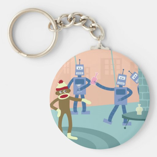 Sock Monkey Robot Cocktail Party Basic Round Button Keychain
