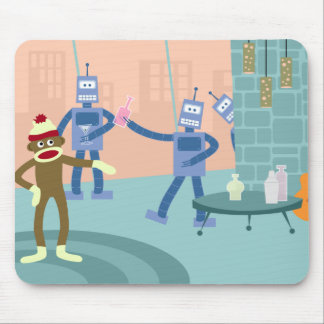 Sock Monkey Robot Cocktail Party Mouse Pad