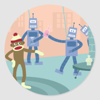 Sock Monkey Robot Cocktail Party Classic Round Sticker