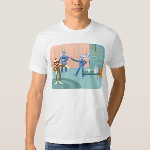 Sock Monkey Robot Cocktail Party T-shirt