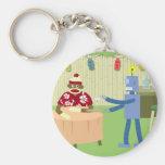 Sock Monkey Robot Waiter Basic Round Button Keychain