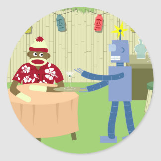 Sock Monkey Robot Waiter Round Sticker