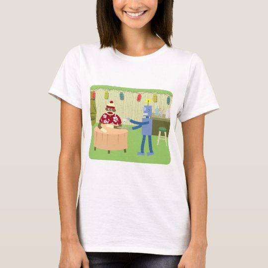Sock Monkey Robot Waiter T-Shirt