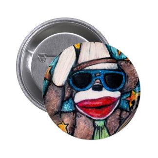 Sock Monkey Rock Star Button