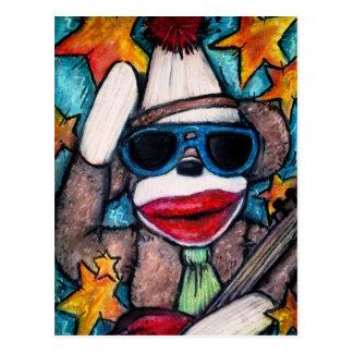 Sock Monkey Rock Star Postcard