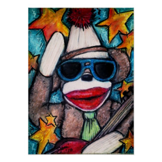 Sock Monkey Rock Star Poster