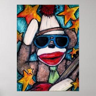 Sock Monkey Rock Star Print