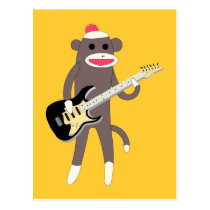 Sock Monkey Rocks w/ Electric Guitar Postcard