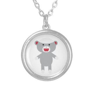 Sock Monkey Round Pendant Necklace