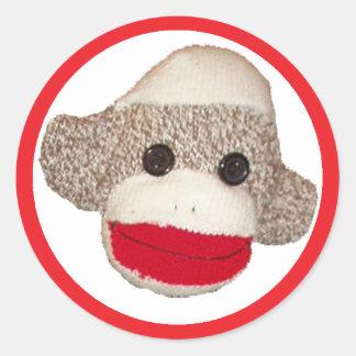 Sock Monkey Round Sticker
