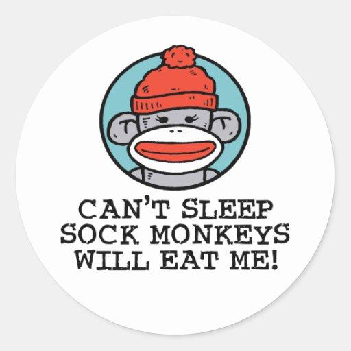 Sock Monkey Round Stickers