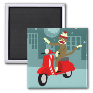 Sock Monkey Scooter 2 Inch Square Magnet