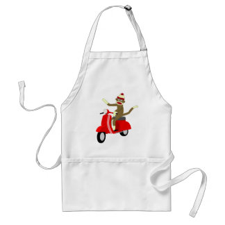Sock Monkey Scooter Adult Apron