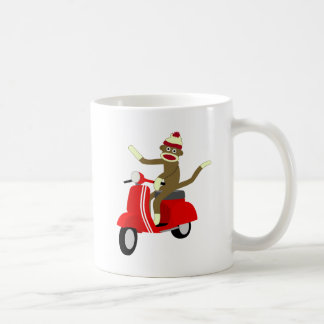 Sock Monkey Scooter Classic White Coffee Mug