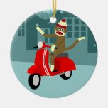 Sock Monkey Scooter Double-Sided Ceramic Round Christmas Ornament