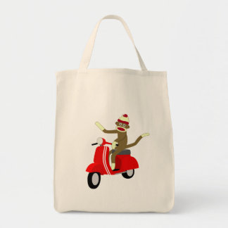Sock Monkey Scooter Tote Bag