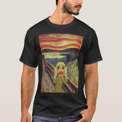 Sock Monkey Scream dark T_shirt