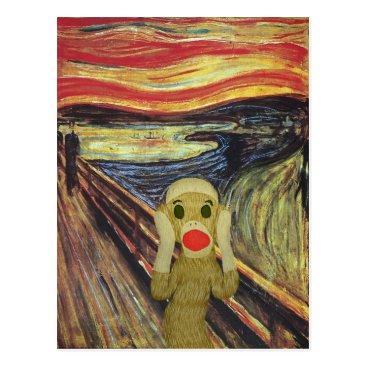 SockMonkeyCentral Sock Monkey Scream postcard