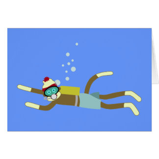 Sock Monkey Scuba Diver Greeting Card
