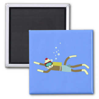 Sock Monkey Scuba Diver Fridge Magnets
