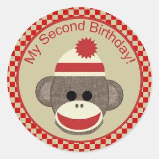 Sock Monkey second birthday red checks sticker