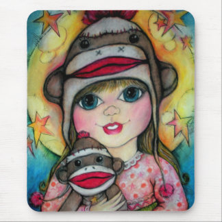 Sock Monkey See, Monkey Do Design Mouse Pad