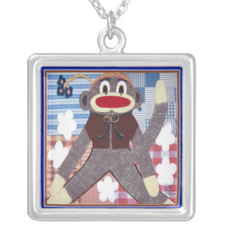 Sock Monkey Silver Plated Necklace