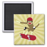 Sock Monkey Skateboarder 2 Inch Square Magnet
