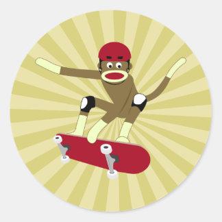 Sock Monkey Skateboarder Classic Round Sticker