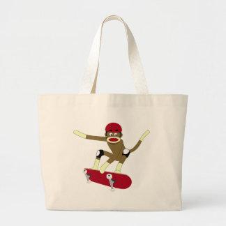 Sock Monkey Skateboarder Large Tote Bag