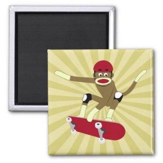 Sock Monkey Skateboarder Magnet