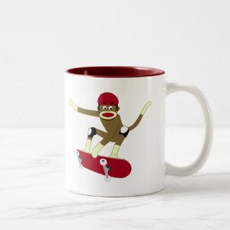 Sock Monkey Skateboarder Two-Tone Coffee Mug