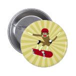 Sock Monkey Skateboarder Pinback Button