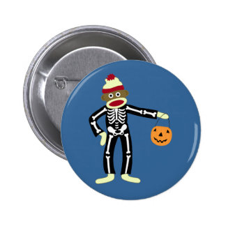 Sock Monkey Skeleton Halloween Button