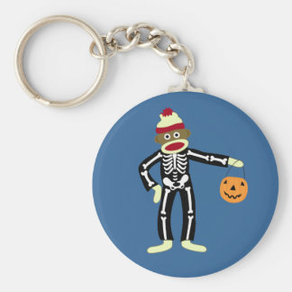 Sock Monkey Skeleton Halloween Keychain