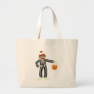 Sock Monkey Skeleton Halloween Large Tote Bag