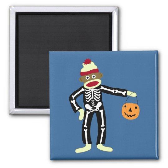 Sock Monkey Skeleton Halloween Magnet