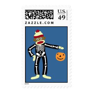 Sock Monkey Skeleton Halloween Stamp