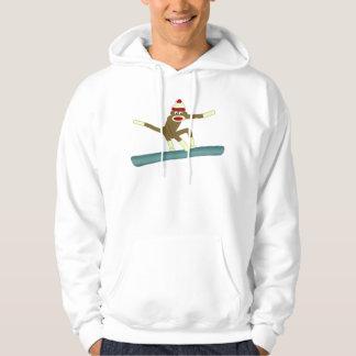 Sock Monkey Snowboarder Hoodie
