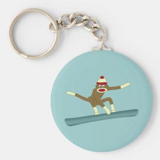 Sock Monkey Snowboarder Keychain