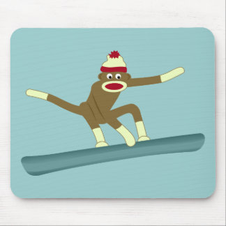 Sock Monkey Snowboarder Mouse Pad