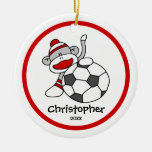 "Sock Monkey Soccer Boy""s Christmas Ornament"
