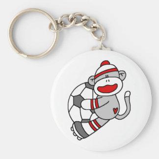 Sock Monkey Soccer Keychain